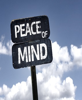 Peace of Mind sign with clouds and sky background